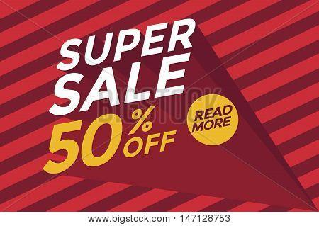 Super sale banner red background. Vector illustration