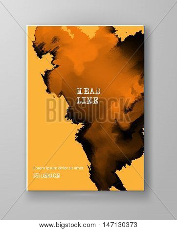 Yellow abstract design. Ink paint on brochure Color element isolated on white. Grunge banner paints. Simple composition. Liquid ink. Background for banner card poster identity web design.