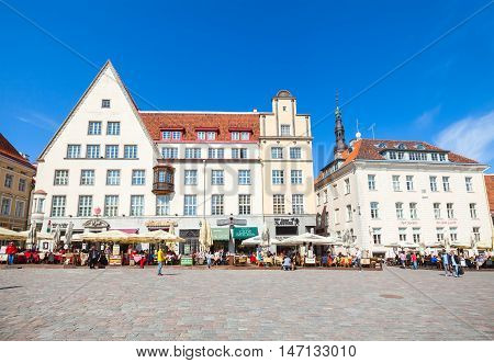 Tourists Are On Town Hall Square In Old Tallinn