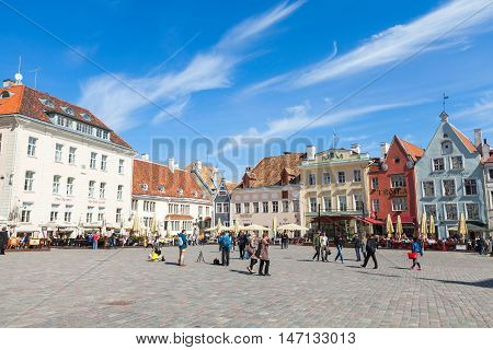 Cityscape Of Town Hall Square In Old Tallinn