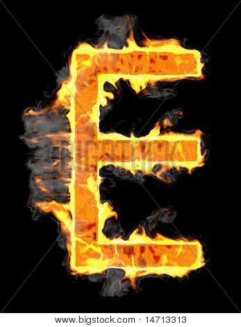 Burning And Flame Font E Letter