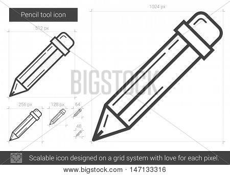 Pencil tool vector line icon isolated on white background. Pencil tool line icon for infographic, website or app. Scalable icon designed on a grid system.