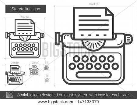Storytelling vector line icon isolated on white background. Storytelling line icon for infographic, website or app. Scalable icon designed on a grid system.