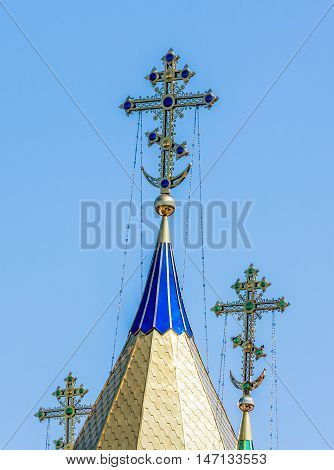 Cathedral dome close up. Dome of church. gold domes of church. gold domes and crosses close up.
