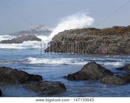 Rocks and crashing surf on the Oregon Coast