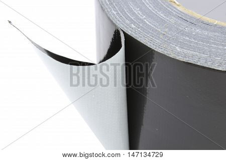 Adhezive cloth tape black, isolated on white