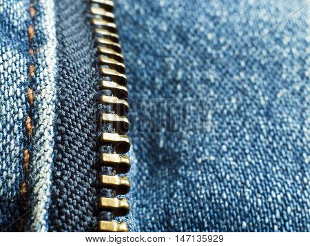 Close up to surface texture of Unzipped Jean