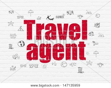 Travel concept: Painted red text Travel Agent on White Brick wall background with  Hand Drawn Vacation Icons