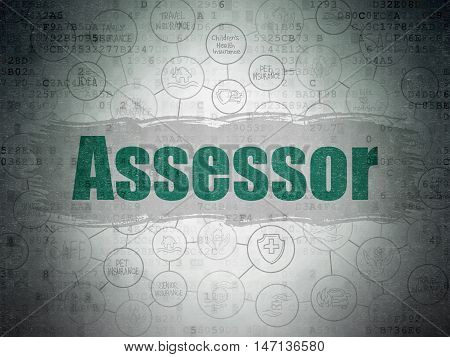 Insurance concept: Painted green text Assessor on Digital Data Paper background with  Scheme Of Hand Drawn Insurance Icons