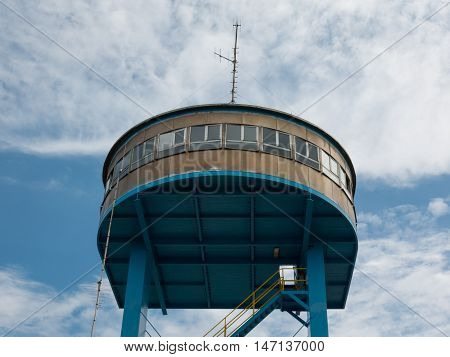 Boat's Control Tower With Stairs And Antenna On Top