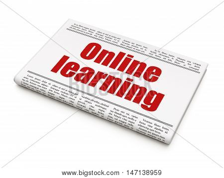 Studying concept: newspaper headline Online Learning on White background, 3D rendering