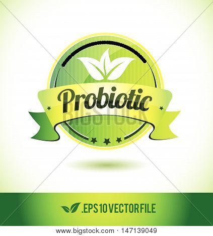 Probiotic badge label seal text tag word stamp logo design green leaf template vector eps