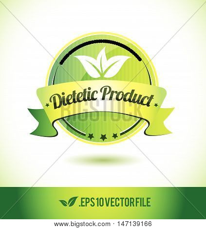 Dietetic product badge label seal text tag word stamp logo design green leaf template vector eps