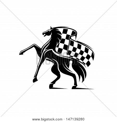 Horse with waving checkered flag. Stallion horse race icon. Car races vector label for sport club, bookmaker signboard, team shield, badge