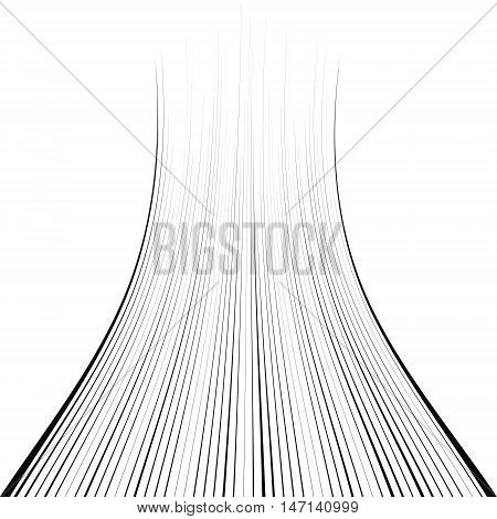 Curved jump line, lines, roads disappearing into infinity in the library, illustrations, vector for print or website design