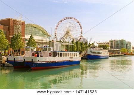 Port of Navy Pier, Chicago in summer