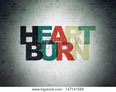 Medicine concept: Painted multicolor text Heartburn on Digital Data Paper background