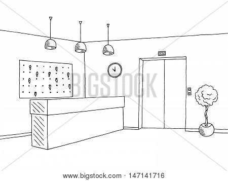 Hotel lobby reception black white graphic art interior sketch illustration vector