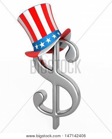 Dollar on uncle sam hat. 3d render illustration.