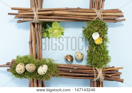Easter frame with quail eggs. Copy space