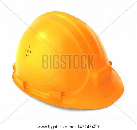Yellow crash helmet. 3d render object illustration.