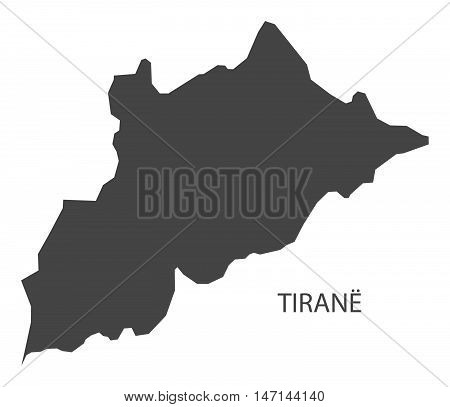 Tirane Albania Map in grey vector high res poster