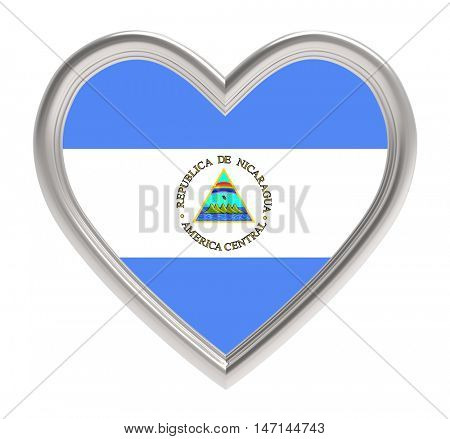 Nicaraguan flag in silver heart isolated on white background. 3D illustration.