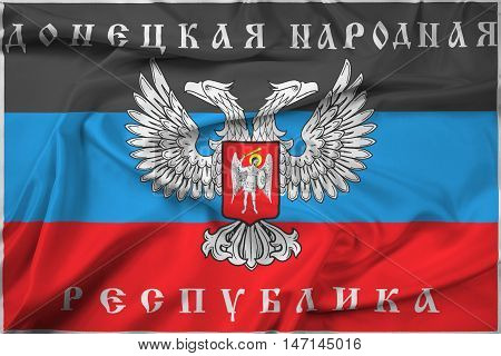 Waving Flag Of Donetsk Republic, A Pro-russian Separatist Organization Operating In Donetsk, Ukraine