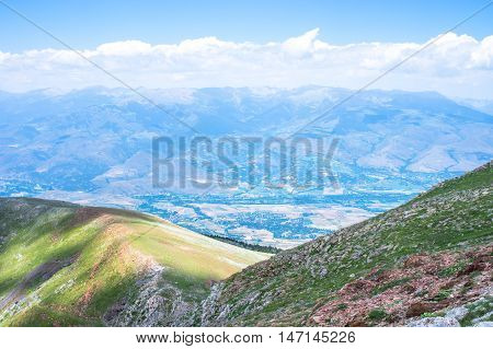 Picturesque top view of the mountain ridge in summer, Pyrenees, Girona, Alp, Catalonia, Spain