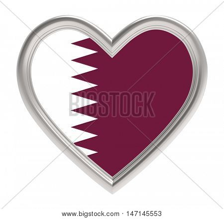 Qatari flag in silver heart isolated on white background. 3D illustration.