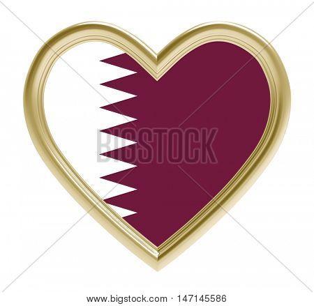 Qatari flag in golden heart isolated on white background. 3D illustration.