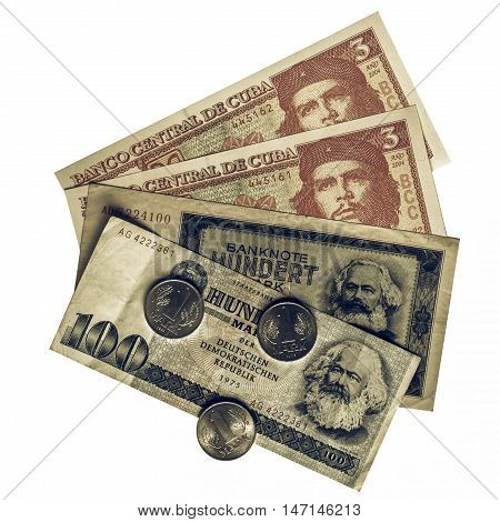 Vintage looking Vintage banknotes with Karl Marx (from DDR) and Che Guevara (from Cuba) poster