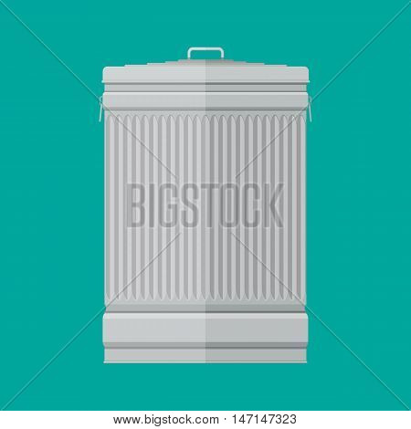 Steel street trash can on green background. vector illustration in flat style