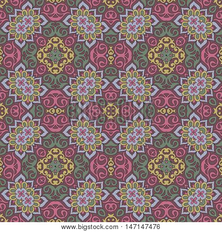 Seamless Mandala Pattern For Printing On Paper Or Fabric. Islam And Arabic Motifs.