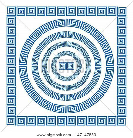 Set Of Brushes To Create The Greek Meander Patterns. Greek Traditional Borders. Decoration Elements