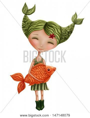 Pisces astrological sign girl isolated on a white background