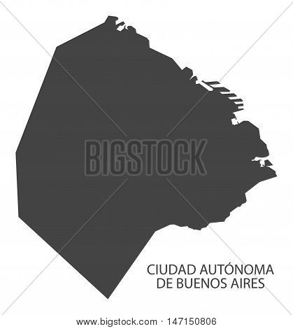 Ciudad Autonoma de Buenos Aires Argentina Map grey vector high res