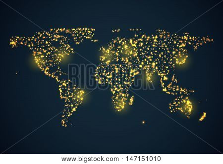 Abstrackt bright glowing map on dark blue background. Vector illustration