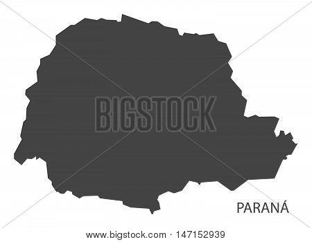 Parana map grey brazil vector high res