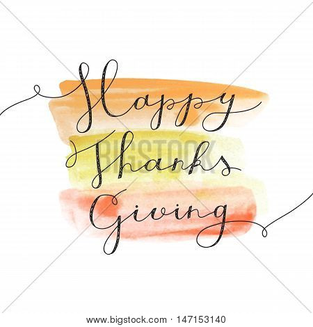 happy thanksgiving lettering, vector handwritten text for greeting cards