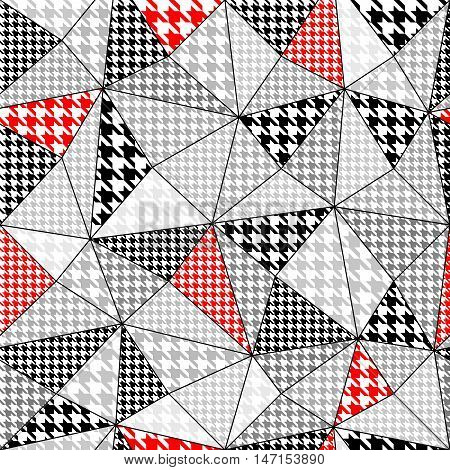Background in a patchwork style with a houndstooth pattern. Seamless pattern.