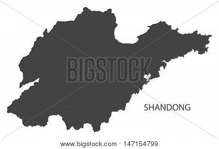 Shandong China Map in grey vector high res