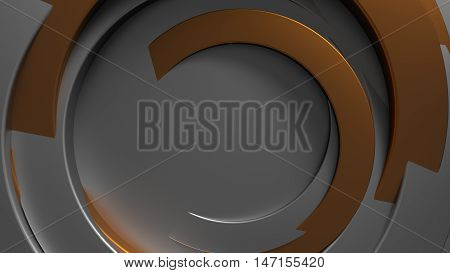 3D Rendering Abstract Concentric Background. Random Rotated Metal Tubes.