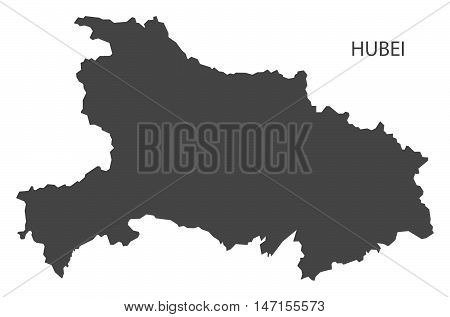 Hubei China Map in grey vector high res