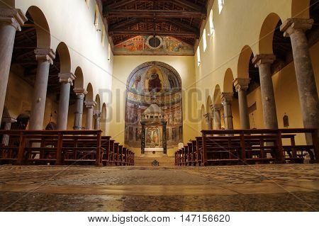 ROME ITALY - SEPTEMBER 9 2016: central nave of the ancient Roman church San Saba built on VII century close to the ancient Aurelian Walls next to the Aventine Hill and Caelian Hill