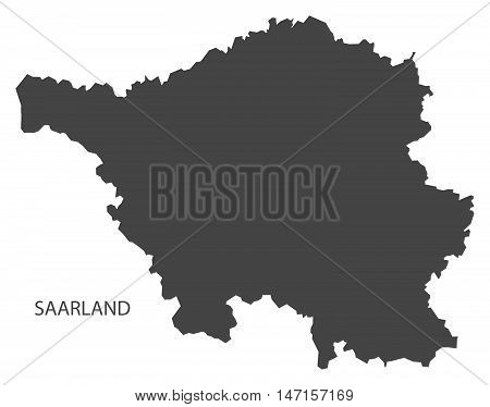 Saarland Germany Map grey vector high res