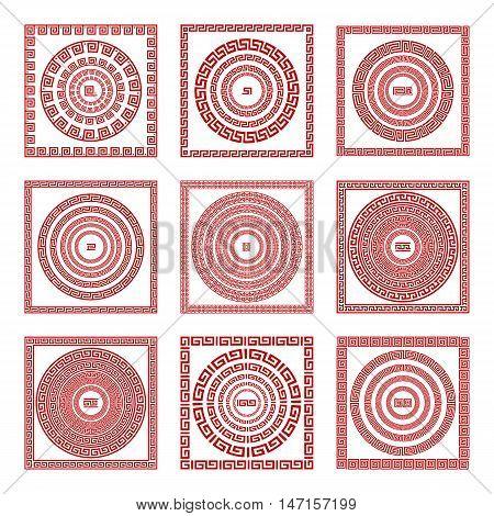 Vector Set Traditional Vintage Golden Square And Round Greek Ornament Meander Pattern On A Red Backg