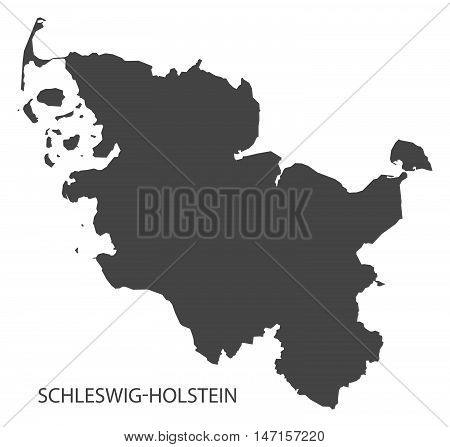 Schleswig-Holstein Germany Map grey vector high res