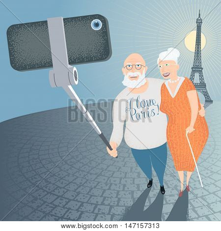 Group of old people making selfie photo with smartphone and stick on French Eiffel tower background vector illustration. Senior people elderly persons concept visual
