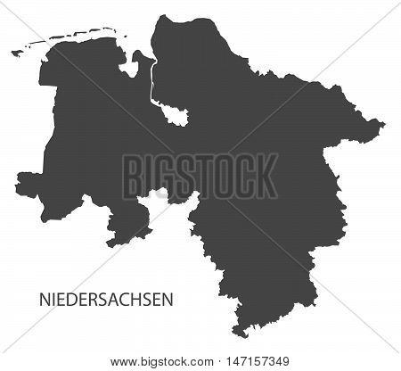 Niedersachsen Germany Map grey vector high res